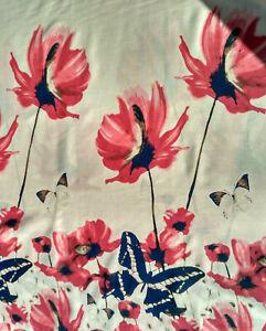Stoff Mohn Blumen Schmetterlinge Baumwolle Weiß Bedruckt Bunt