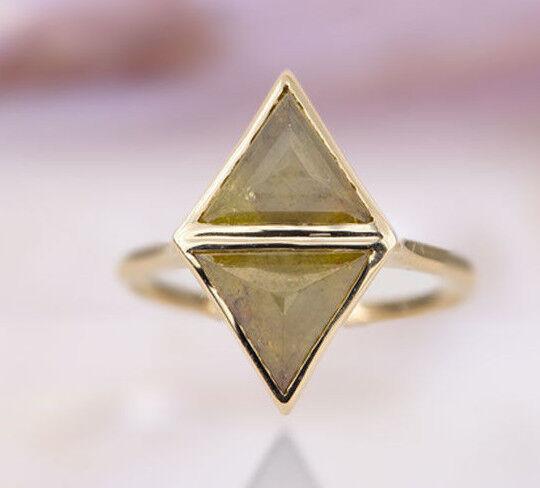 14k Solid gold Ring triangle pink cut diamond ring art deco ring wedding DJR0039