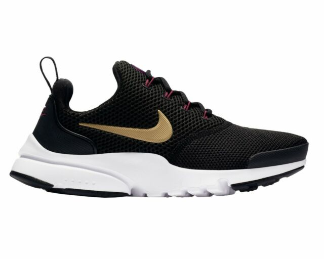 Nike PRESTO FLY GS 913967 004 Black Gold Girls Trainers Womens Gym Shoes 25dce2ca0