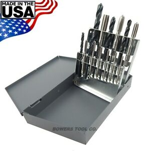 Chicago-Latrobe-18pc-Hand-Tap-amp-Drill-Set-Metric-M2-5-to-M12-with-Index-USA-Made