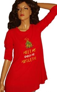 656d3e0cd50 Image is loading Womens-RED-Mistletoe-FUNNY-Ugly-Christmas-Sweater-Party-