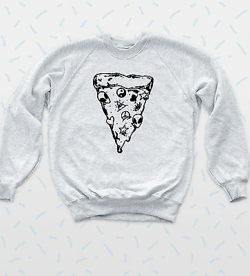 90s Pizza Slice Sweatshirt Sketch Alien Jumper Peace Indie Hipster Lit Top Bequemes GefüHl