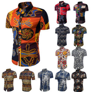 f107f5d48 Image is loading UK-Mens-Short-Sleeve-Hawaiian-Shirts-Summer-Beach-