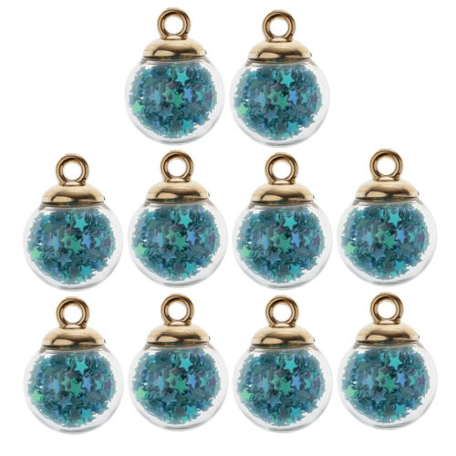 30 Cute Star Crystal Glass Ball Charms DIY Pendant Necklace Earrings Finding