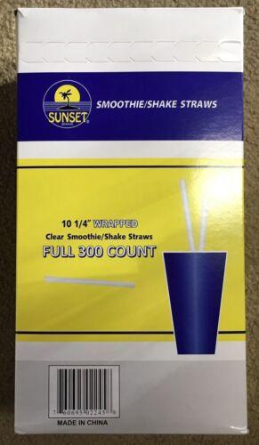 """300  Jumbo Straws Clear 10.25/"""" Smoothie-Slushie-Shake Sunset Free Ship US Only"""