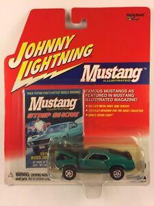 Johnny-Lightning-039-70-1970-Ford-Mustang-Boss-302-Green-Die-Cast-1-64-Rubber-Tires