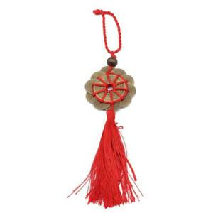 Feng Shui Lucky Red Tassel 5 x Coins Chinese Hanging Charm Health Wealth Temple