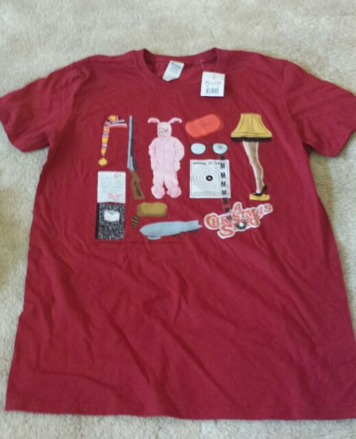 a christmas story t shirt medium new pink bunny suit ralphie leg lamp red rider