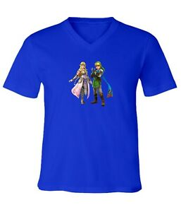 The-Legend-of-Zelda-Hero-Link-and-Queen-Zelda-Men-Women-Unisex-V-Neck-T-Shirt