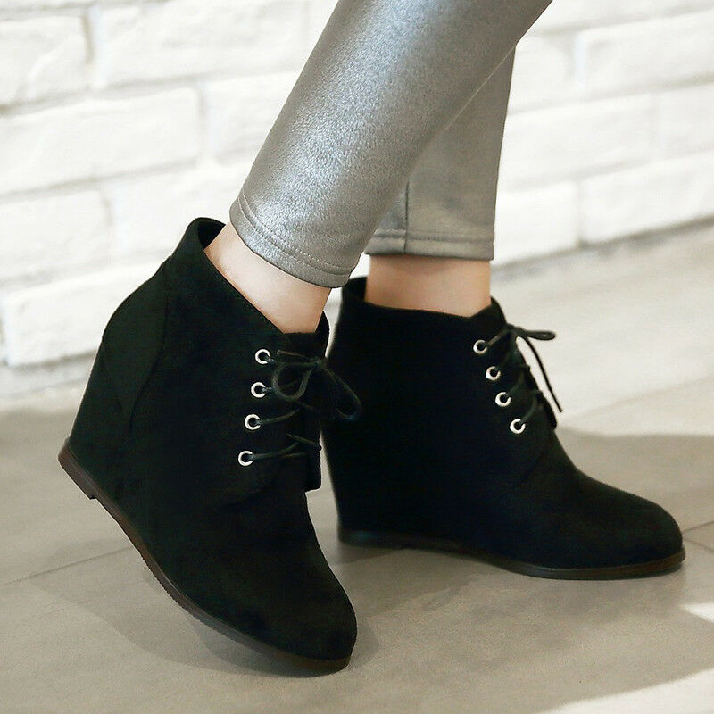 Women Platform Wedge Big Size High Heel Lace Up Suede Ankle Boots Winter Booties