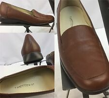 """Trotters Pumps Shoes Sz 9.5 S """"Jess"""" Brown Leather Mint Made In Brazil YGI M"""