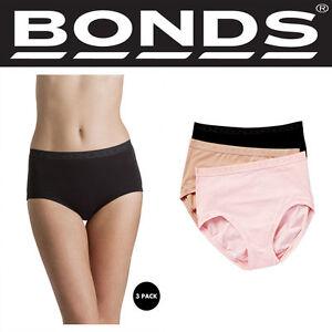 Authentic-3-Pack-New-Ladies-Bonds-Cottontails-Full-Brief-Black-Foundation-Rose