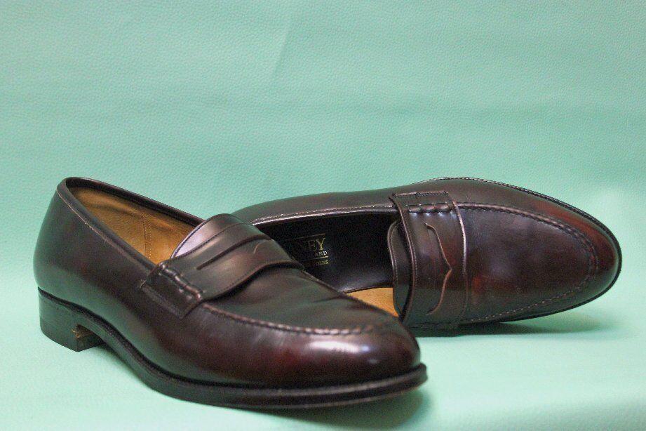 Exklusive Cheaney Slipper Schuh 43 rot-baun Leder Sohle Rahmen genäht England    | Elegant und feierlich