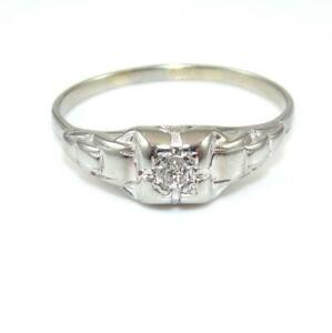 Vtg-18K-White-Gold-Ring-9-25-Natural-Mine-Cut-Diamond-Wedding-Engagement