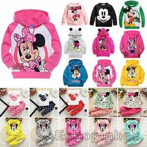 0abf3ec2dd222 Enfant Fille vêtements Mickey Minnie Pull Capuche Décontractée pantalon  tenues