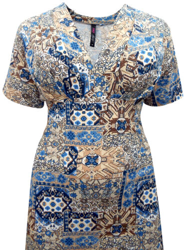 30 Stretch Dress V 16 Jersey Blue 28 32 Cream Abstract Print 20 neck Size 26 WUxnOfng