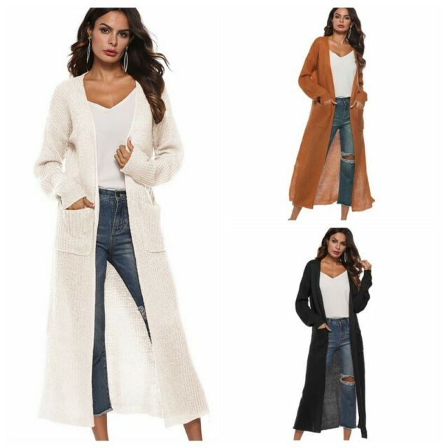 Women Full Length Maxi Cardigan Duster Open Front Sweater Lady Long Sleeve Coat