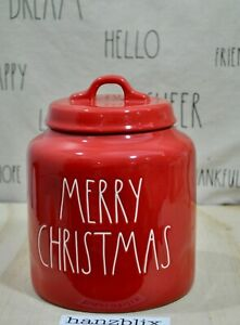 Rae-Dunn-MERRY-CHRISTMAS-Red-Large-Chubby-Canister-NEW-2019