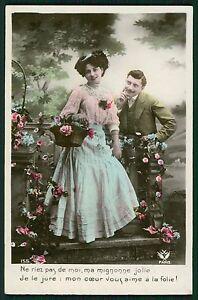 Romance Love Couple Flirt Lady Male Man original old 1910s