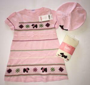 59e4c389df NWT Gymboree Girl Detective 3T Pink Scottie Dog Sweater Dress Tights ...