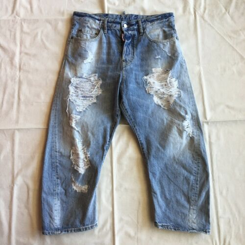 Dsquqred2 - distressed/patched boyfriend jeans