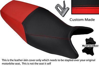 BLACK & BRIGHT RED CUSTOM FITS KAWASAKI ZR 7 750 99-04 DUAL LEATHER SEAT COVER