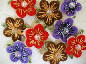 Hand made stitches bead felt layer daisy flower applique
