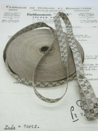 1 yd  Antique//Vintage French Silver Wire W//Gray Squares Metallic Trim