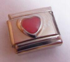 PINK LOVE HEART Italian Charm June October Birthstone fits Classic Bracelets 9mm