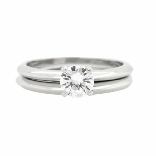 Details about  /Clear CZ 925 Sterling Silver Women Plain Wedding Ring Set Sizes 4-10
