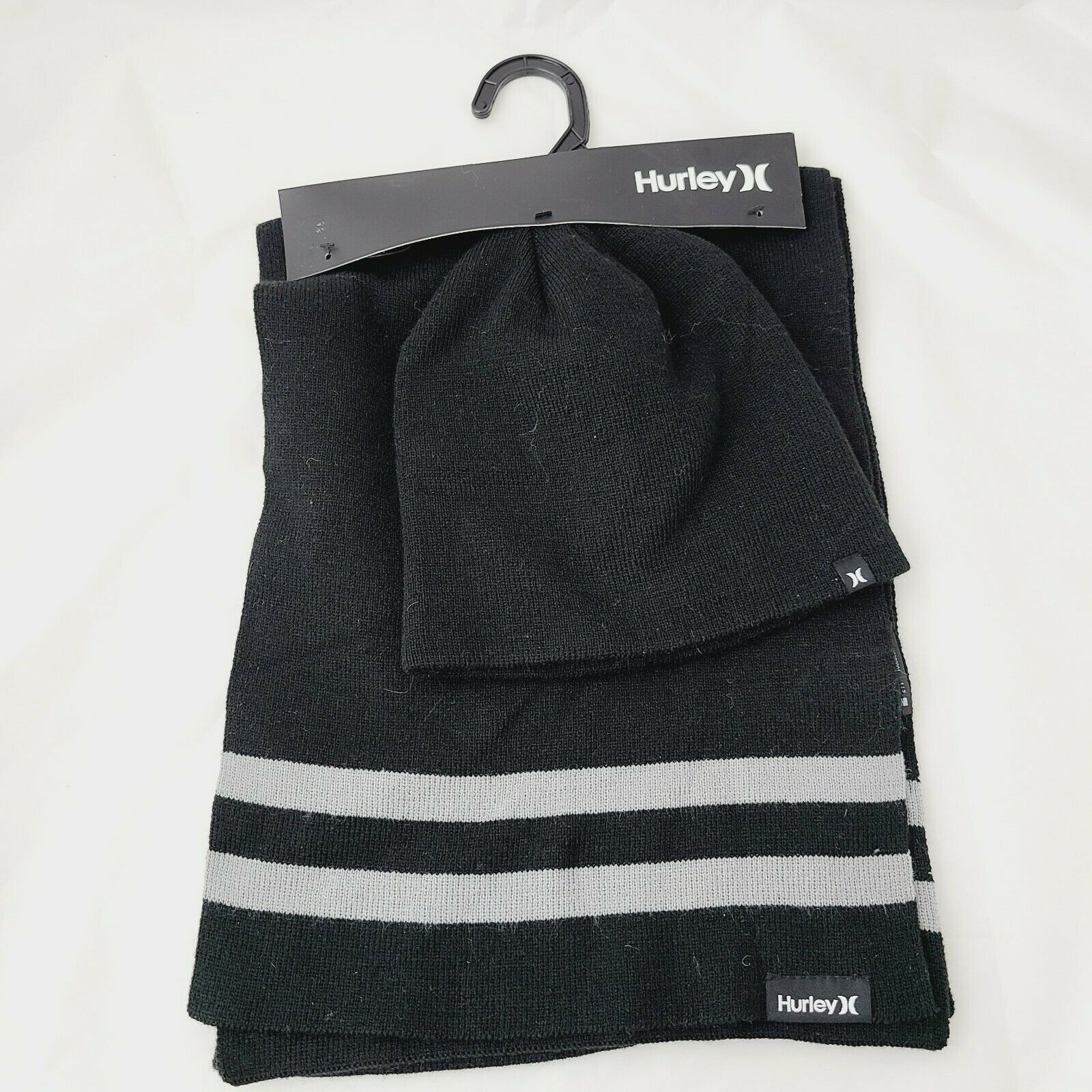 Hurley Black Hat And Scarf Set Mens New Yorker Beanie Gift Striped One size