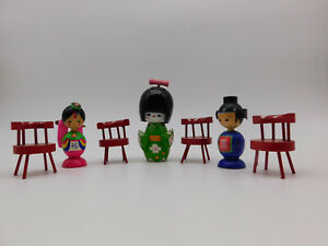 Japanese-Wooden-Kokeshi-Doll-Korean-Wedding-Dolls-Hand-Made-Painted-Wood-Chairs