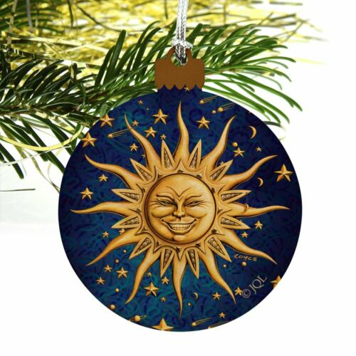 Celestial Suns Moon Shooting Stars Wood Christmas Tree Holiday Ornament