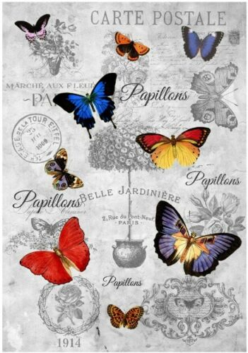 12670 Decoupage-bastelpapier-Soft papel-Vintage-SHABBY-Mariposa