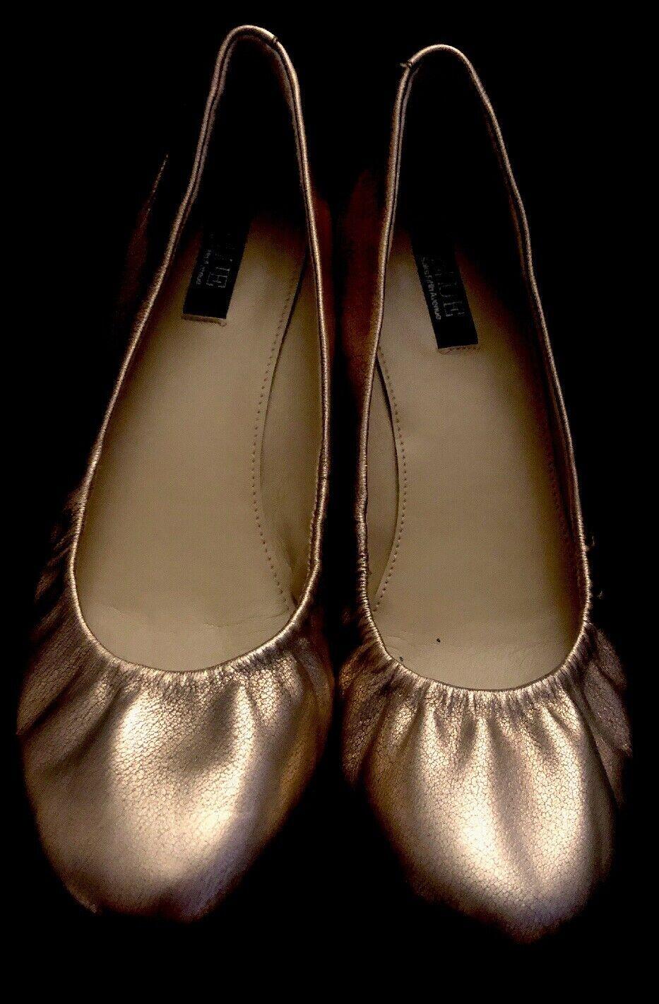 "SAKS FIFTH AVENUE ""blu"" Copper Mettuttiic Leather Pleated Btuttiet Flats-NWOB-Sz 9M"