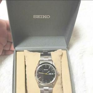 Seiko-Day-Date-Stainless-Steel-Box-Quartz-Mens-Watch-Authentic-Working