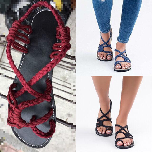 Womens Ladies Bohemian Flat Flip Flops Sandals Bandage Casual Weave Beach Shoes