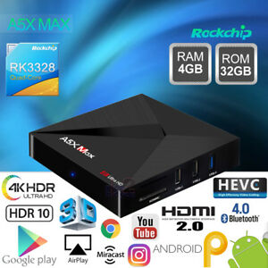 Details about A5X MAX Android 9 0 4G 32G RK3328 4K Smart TV Media BOX WIFI  HDR VP9 USB HDMI PC