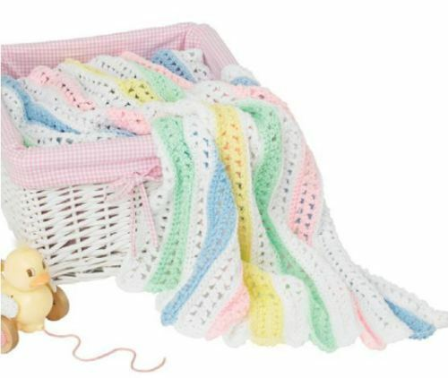 "QUICK CROCHET PASTEL STRIPED ARAN BABY BLANKET 30/"" X 37/"" CROCHET PATTERN"
