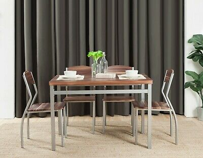 5 Piece Dining Table Set With 4 Chairs Cedarwood Finish Mdf And Metal Ebay