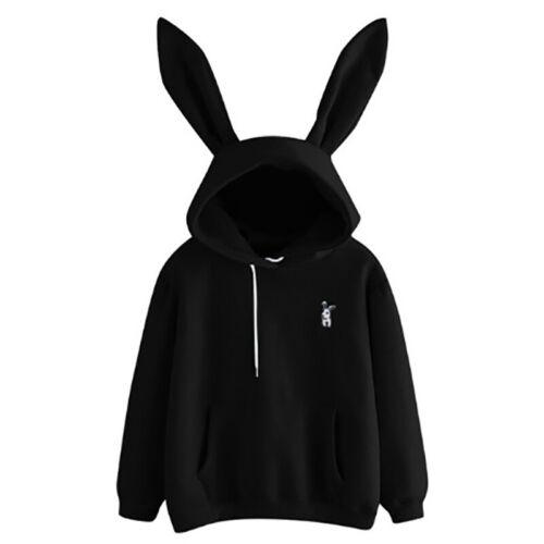 Women Hoodie Pullover Sweatshirt Sweet Cute Hooded Bunny Ear Top Pullover