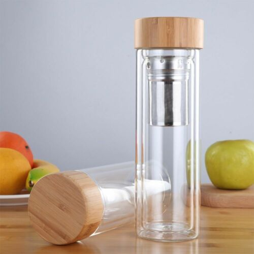 Water Tea Bottle Glass Infuser With Filter Strainers Double Wall Drinkwares Mugs