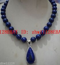 Natural 8mm Blue Egyptian Lapis Lazuli Gems Necklace (Pendants 15x30mm)18'' AAA