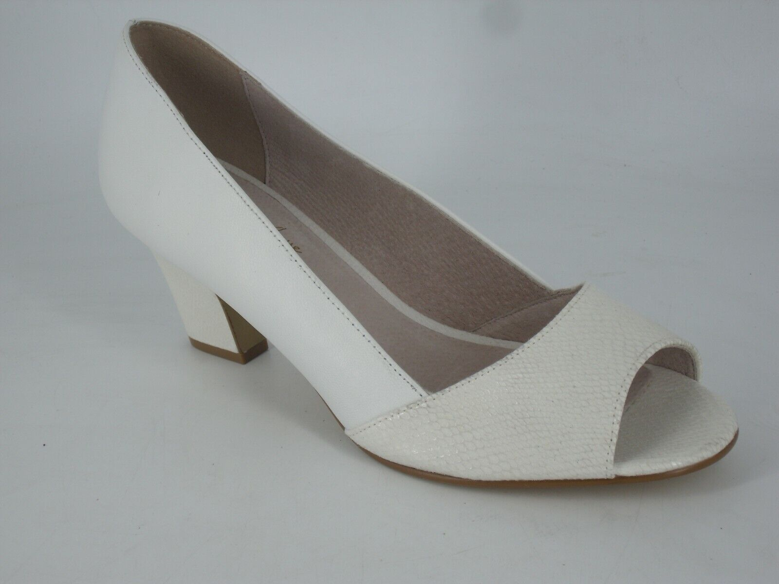 ANNE WEYBURN Metallic Effect Leather Open Toe Pumps UK 7.5 EU 41 NH092 TT 03