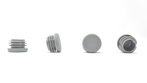 Round plastic tube inserts blank caps//Grey-produced in Germany