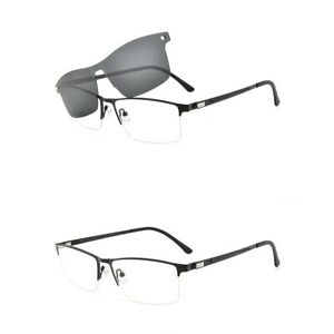 Mens-Half-Rimless-Eyeglass-Frame-Magnetic-Polarized-Clip-on-Sunglasses-Business