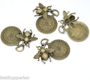 5-Bronzefarben-Biene-Uhr-Charms-Anhaenger-4-2x4-2cm