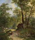 Nice Oil painting shepherdess with sheep goat and donkey in landscape canvas