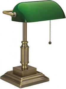Vintage Bankers Desk Lamp W/ Green Glass Shade Student Antique Piano Table Light
