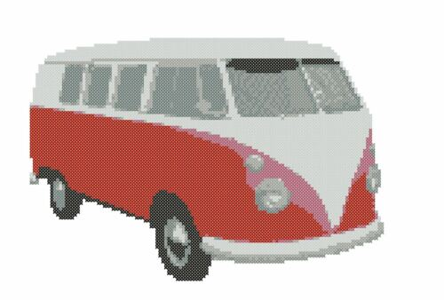 Volkswagen Camper Van Rojo Cross Stitch Kit Pantalla dividida
